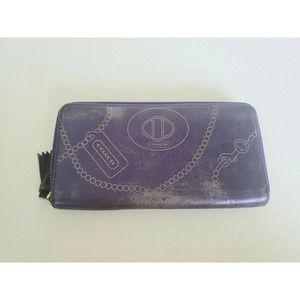 Coach Wallet Continental Leather Solid Purple Zip Around Card Holder Clutch